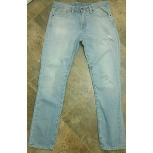 Distressed Levi's Slim Straight Light Wash Jeans